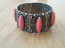 Bracelet manchette fantaisie métal argenté