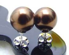 10MM Round Brown Sea Shell Pearl Earring for Women Jewelry Silver S925 Stue e278
