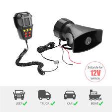 80W 12V Car Alarm Loud Speaker PA Siren Horn MIC Emergency Microphone 7 Sound