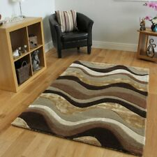 Luxurious Thick Pile Carved Brown & Taupe Cheap Designer Rug - 4' x 6'