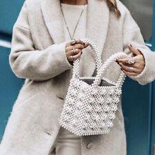 Womens Beaded Handbags Handmade Weave Crystal Flowers Ladies Pearl Bags Box Tote