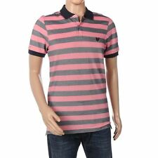 LYLE & SCOTT Heritage Polo Shirt Navy & Pink Striped Cotton Size Small CN 58