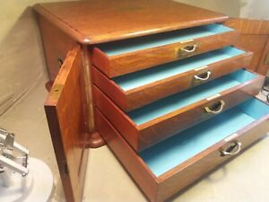 Quality Antique Oak Collectors Chest , Stationery Cabinet , Document Box