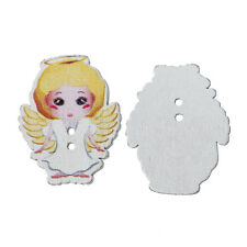 10 Pretty Blonde Angels. Wood Sewing, scrapbook, craft Buttons. 35 x 28mm