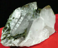 A Larger! Quartz Crystal Cluster With GREEN Epidote Crystals! Brazil 211gr