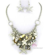 Nautical Silver Bib Beach Ocean Starfish Sea Shell Chunky Charms Necklace Set