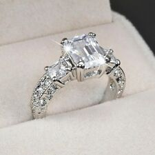 White Gold p 2.0ct Three Stone Emerald Cut lab Diamond Engagement Wedding Party