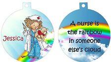 Personalized Ornament custom gift idea Christmas Girl with Bear Nurse Rainbow