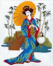 Geisha in Japanese Garden  EMBROIDERED SET 2 BATHROOM HAND TOWELS by laura
