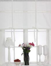 JULIA OFF WHITE Raffrollo 160x120cm Leinenoptik Raffgardine Landhaus Shabby Chic