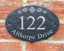 Personalised Natural Oval Slate House Name Door Gate Number Sign Plaque 13x20cm