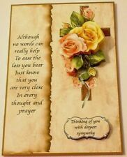 Handmade Greeting Card 3D Deepest Sympathy With A Cross And Roses