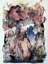Julian Ritter Ink on Matte Five Old Guys Admiring a Buxom Angel_8