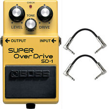 Boss SD-1 SUPER Overdrive Tube Amp Distortion Pedal Stompbox + Patch Cables