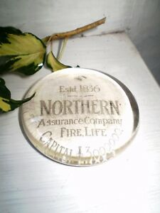 MANS GIFT,LATE VICTORIAN GLASS PAPER WEIGHT,NORTHERN ASSURANCE COMPANY