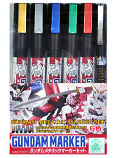 Mr. Hobby GMS-121 Gundam Metallic Marker Set Paint Color Pen 6pcs Bandai Model