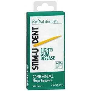 Stim-U-Dent Plaque Removers 3 Packs of 4x25 Picks/Pack 300 Picks - Mint Flavor