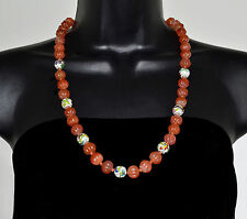 Old CHINESE Export Antique CARNELIAN and Cloisonne 12mm Beads Necklace 25.5""