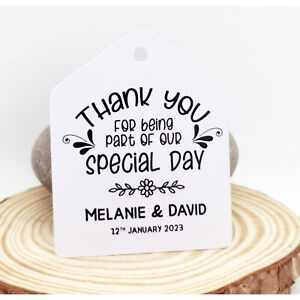 Wedding Gift Favour Tags | Thank You For Sharing Our Special Day | Personalised!