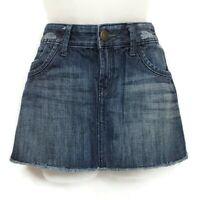 Express Womens Sz 4 Skirt Denim Dark Blue Flap Pockets Cotton Jean Skirt Size 4