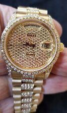 "Rolex Date Just ""President"" 18 Karat yellow gold w/diamonds Wrist Watch for Men"