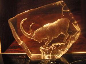 Mats Jonasson (Sweden) Lead Crystal Ibex Sculpture 3371 15cm x 19cm