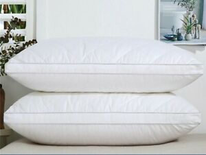 """Luxury Cotton Feather Down Pillows 3"""" Bed Sleep 2 Pack"""