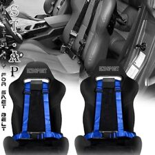 "FIT CAR 2X(TWO) JDM 4-POINT RACING SAFETY HARNESS 2"" INCH STRAP SEAT BELT BLUE"