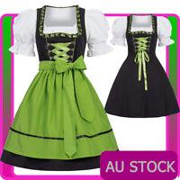 Deluxe Ladies Oktoberfest Costume Red Bavarian Beer Maid Dirndl Fancy Dress
