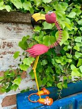 Metal Pink Flamingo Garden Ornament Pond Outdoor Display Sculptures Patio Decor