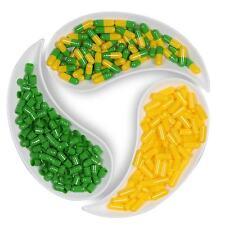 Empty Hard Gelatin Capsule Size 0 Green/Yellow  x 500