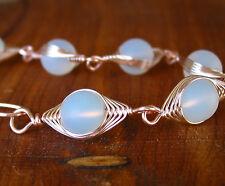 VALENTINA opal sea glass herringbone wire wrapped bracelet rose gold LEAD FREE