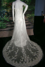 WEDDING GOWN 12 SATIN LACE IVORY CRYSTALS BALLGOWN FAIRYTALE PRINCESS CORSET