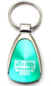 Genuine Jeep Grille Aqua Green Logo Metal Chrome Tear Drop Key Chain Ring Fob