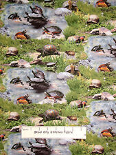 Turtle Animals Scenic Cotton Fabric Elizabeth's Studio American Wildlife Yard