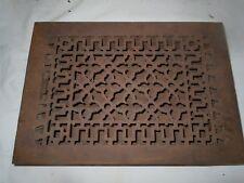 "Antique Cast Iron Victorian Heat Grate Floor/Wall Register 8X12"" Vtg Old"