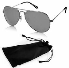 ANT Aviator Sunglasses Fashion Glasses For Men with Pouch - SILVER