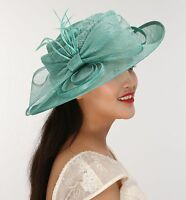 Church Kentucky Derby Carriage Wedding Tea Party Wide brim Sinamay Hat Turquoise