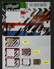 GiffGaff 4G tarjeta SIM británica 3in1 triple Micro Nano Standard Reino Unido libre de crédito £ 5