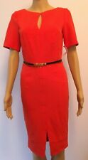 PAPER DOLLS RED (TOMATO) KEYHOLE STITCH DETAIL PENCIL DRESS SIZE 8