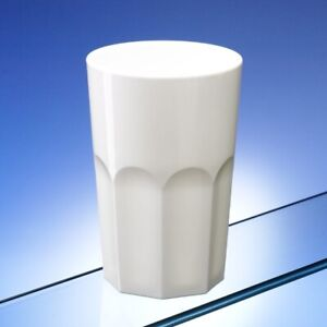 Avenue's Unbreakable Polycarbonate White Plastic Octagon Glasses 420ml