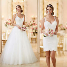 Removable Train Mermaid Wedding Dress Short V Neck Lace Bridal Gowns White ivory