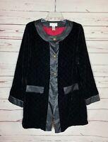Soft Surroundings Women's M Medium Black Velvet Silk Blend Button Long Jacket