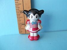 "Astro Boy Uran 2""in Tin Toy Meiji Cute Robot Girl in Plaid Dress and Red Shoes!"