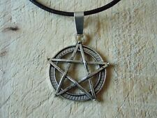 LARGE PENTACLE PENTAGRAM silver tone Cord Necklace Pagan Goth Druid Hippy