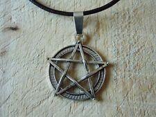 Gran pentáculo Pentagrama Plata Tono Cable Collar Pagano Goth Druida Hippy