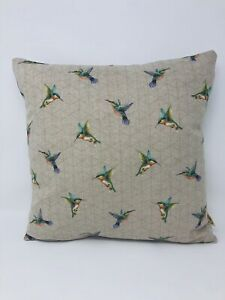 Handmade Hummingbird Cushion, Hummingbird Print Pillow, Bird Cushion