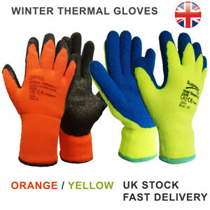 Thermal Winter Gloves Yellow or Orange Outdoor Warm Thick Knitted Work Glove