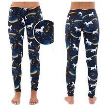 TIPSY ELVES Womens M Unicorns Rainbows Black Leggings Pull In Pants