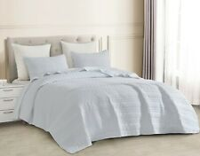3pc Quilted Coverlet Set White Stonish Bedspread Stone-Washed, Bedding Bed Cover